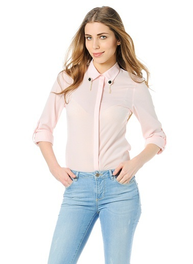 Yaka Detaylı Gömlek-Dewberry